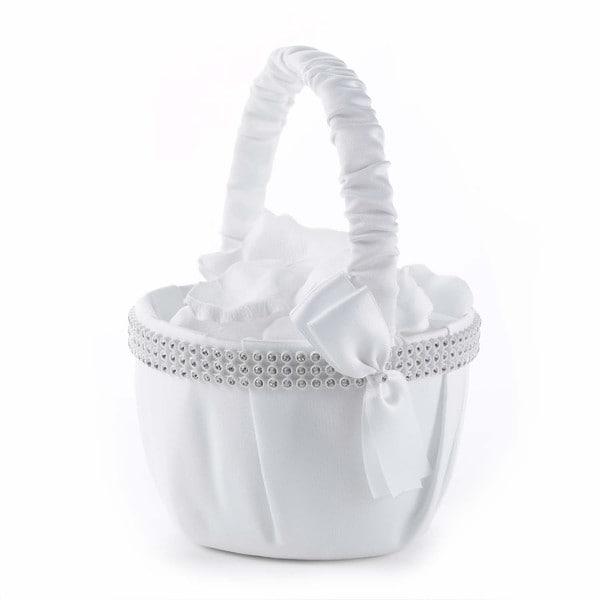 White Satin Bling Flower Basket