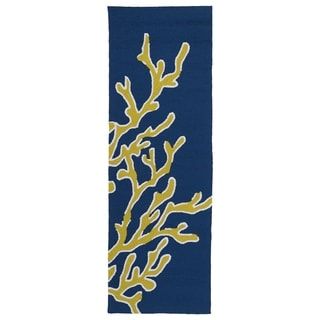 Indoor/ outdoor Luau Blue Coral Rug (2' x 6')