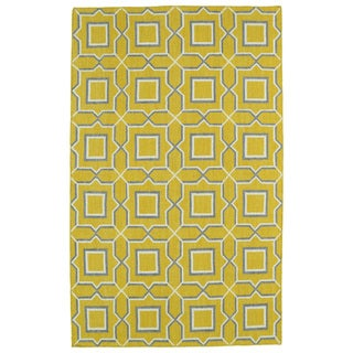 Hollywood Yellow Geo Flatweave Rug (8' x 10')
