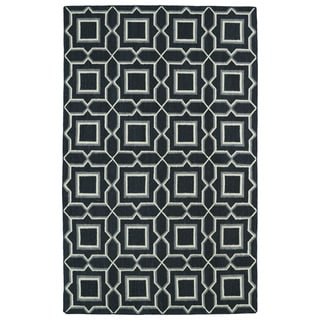 Hollywood Charcoal Geo Flatweave Rug (9' x 12')