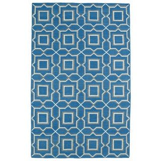 Hollywood Teal Geo Flatweave Rug (9' x 12')