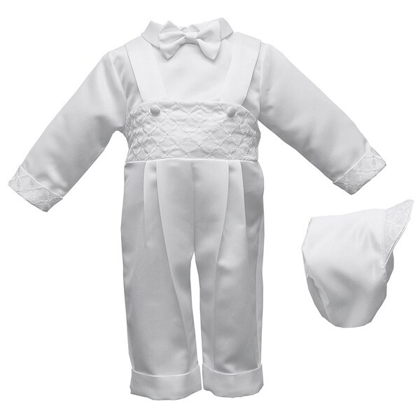 Boys Christening/ Baptism White Long Pant Set