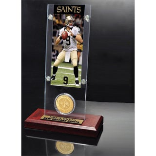 NFL Drew Brees New Orleans Saints Ticket and Bronze Coin Desktop Acrylic