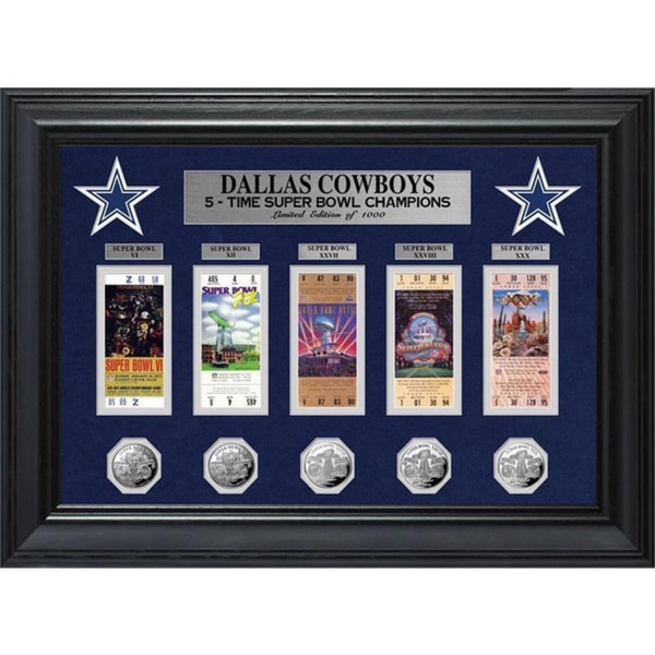 NFL Dallas Cowboys Super Bowl Ticket and Game Coin Collection Frame