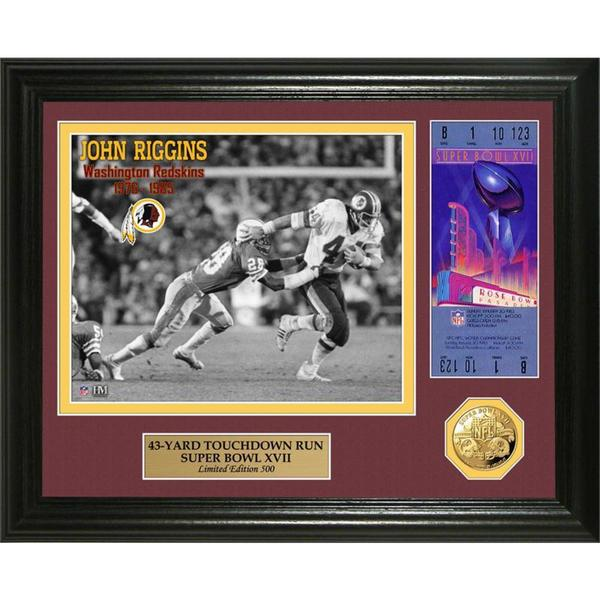 NFL John Riggins Green Bay Packers Super Bowl 17 Ticket Gold Coin Photo Mint
