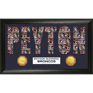 NFL Peyton Manning Denver Broncos 'Word Art' Bronze Coin Panoramic Photo Mint