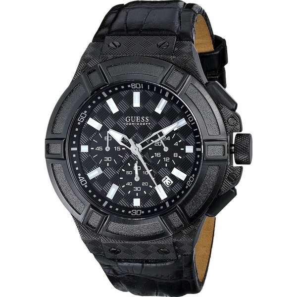 Guess Men's U0408G1 Rigor Black Chronograph Watch