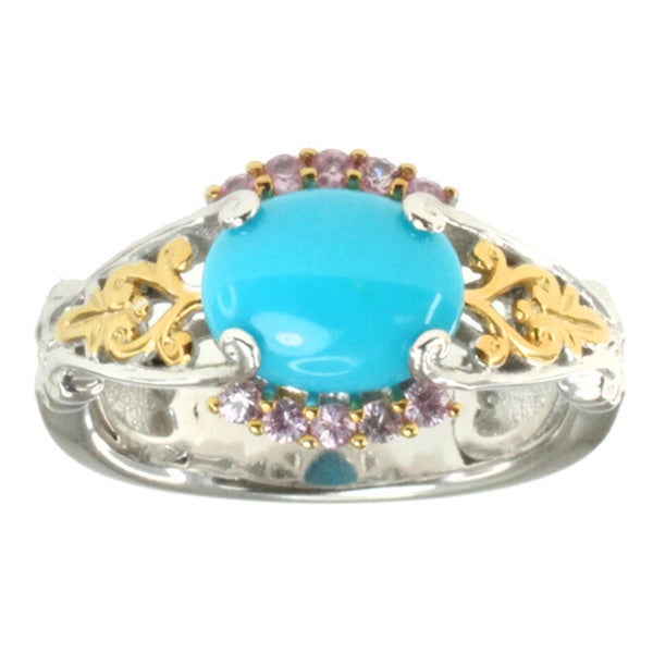 Michael Valitutti Palladium Silver Sleeping Beauty Turquoise/ Pink Sapphire Ring