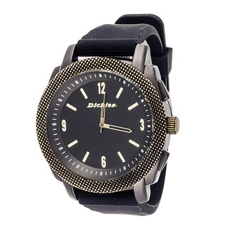 Dickies Men's DW562GU-BK Black Analog Round Rubber Strap Watch