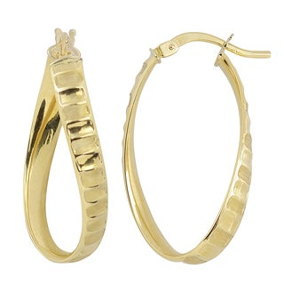 Fremada 10k Yellow Gold Oval Twisted Hoop Earrings with Satin Ripple Design
