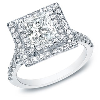 Auriya 14k White Gold 2 1/2ct TDW Certified Princess Cut Diamond Ring (H-I, SI1-SI2)