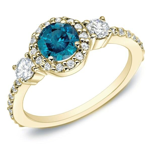 Auriya 14k Gold 3/4ct TDW 3-Stone Blue and White Diamond Halo Engagement Ring 13988049