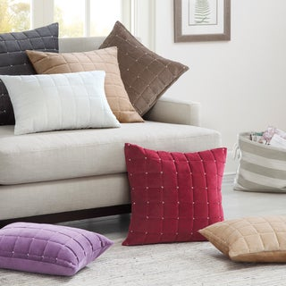 Madison Park Quilted Stitch Cotton Velvet Oblong Throw Pillow