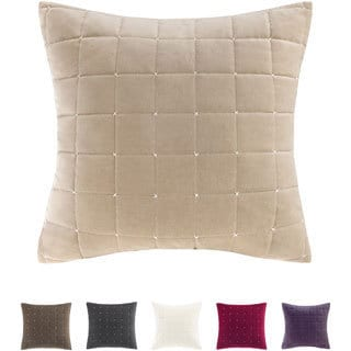 Madison Park Quilted Stitch Cotton Velvet Square 20-inch Throw Pillow