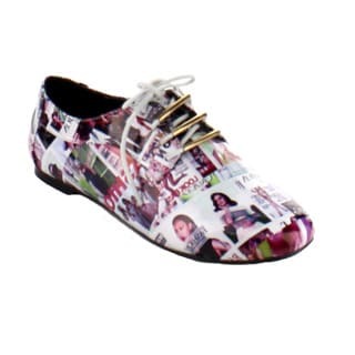 Bumper Women's 'Jolie-08' Magazine Print Oxford Shoes