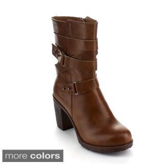 Bumper Women's 'Sammi-04' Chunky Heel Mid-calf Boots