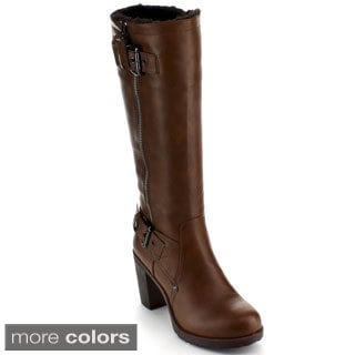 Bumper Women's 'Sammi-04' Chunky Heel Knee-high Boots