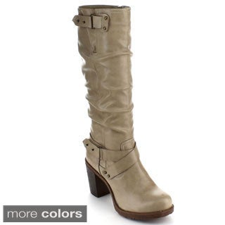 Bumper Women's 'Sammi01' Criss-cross Ankle Strap Chunky Heel Knee-high Boots