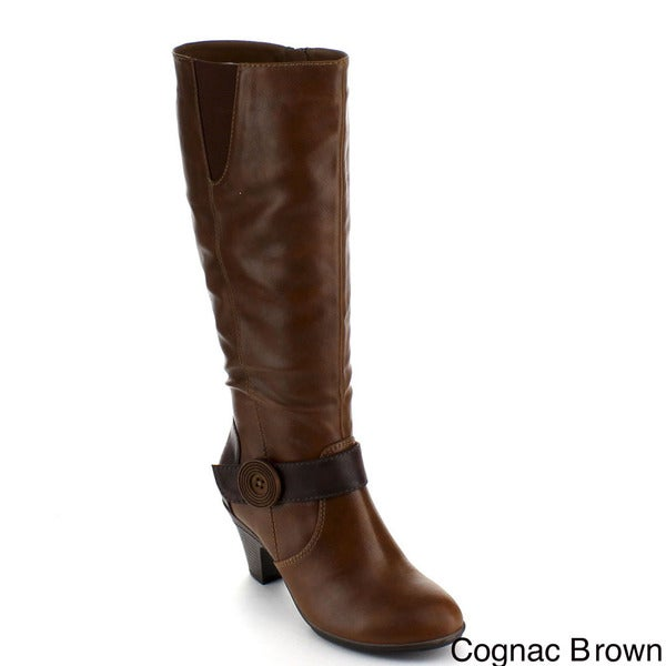 Bumper Women's 'Belle-01' Knee-high Buttoned Riding Boots