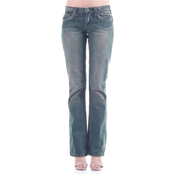 Stitch's Womens Blue Wahsed Straight Leg Jeans Legging Soft Denim Pants