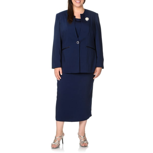 Giovanna Signature Plus Size Navy 3-piece Button Closure Suit