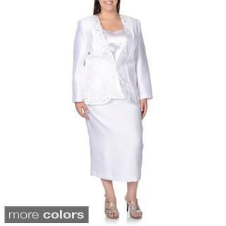 Giovanna Women's Plus Size Floral Laser-cut 3-piece Skirt Suit