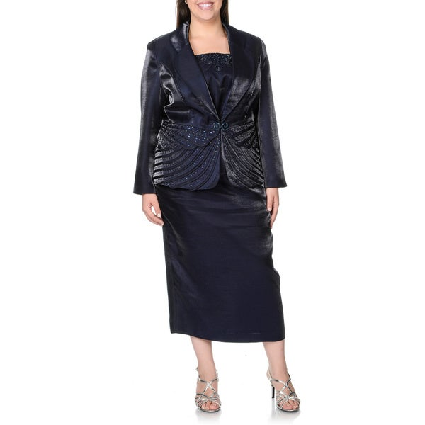 Giovanna Women's Plus Size Pleated 3-piece Skirt Suit with Rhinestone Embellishment