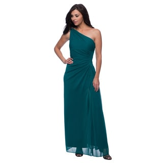 Alex Evenings Women's Emerald Frost Long One-shoulder Evening Gown