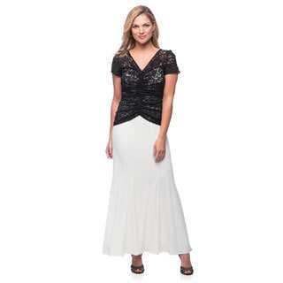 Alex Evenings Women's Black and Ivory Long Evening Gown with Lace Overlay Bodice