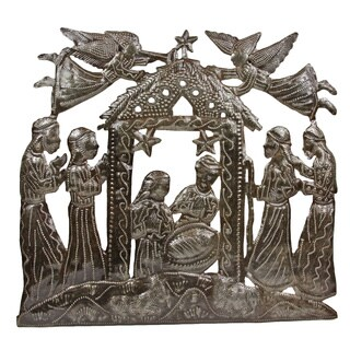 Hand-crafted Angels Above Nativity Metal Wall Art , Handmade in Haiti