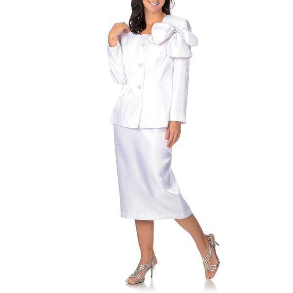 Giovanna Signature Women's White Rhinestone Button 3-piece Skirt Suit