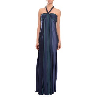 Marc Bouwer Women's Glamit Navy Satin Jeweled Halter Evening Dress Gown