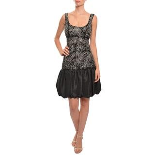 Sue Wong Women's Black Ribbon Bubble Hem Silk Cocktail Dress