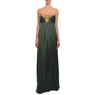 Theia Women's Green Silk Sequin Embellished Evening Gown Dress