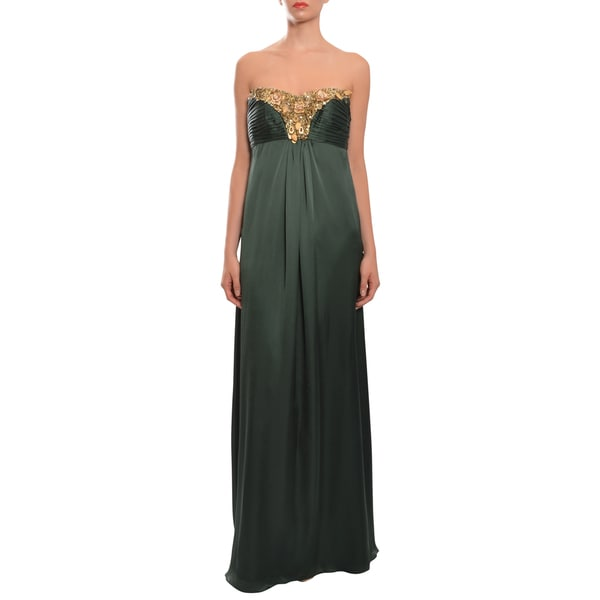 Theia Women's Green Silk Sequin Embellished Evening Gown Dress