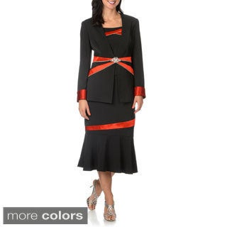 Giovanna Signature Women's Rhinestone Embellishment 3-piece Skirt Suit