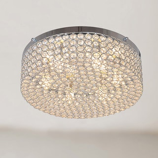 Berta 6-light Chrome Flush Mount Chandelier with Clear Crystals
