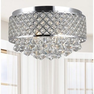 Candice 4-light Chrome and Crystal Flush Mount Chandelier
