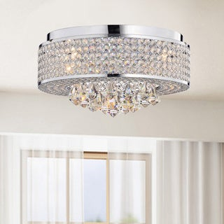 Francisca 4-light Round Chrome Flush Mount Chandelier