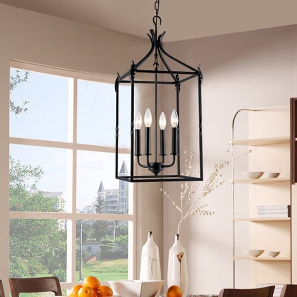Chandelier 4 light black classic iron hanging lantern for Classic home lighting