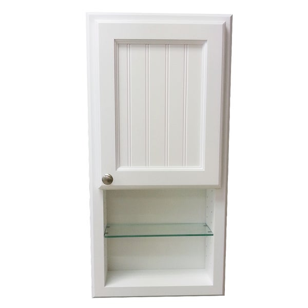 36 inch regal series in the wall cabinet and shelf with beadboard door