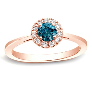 Auriya 14k Rose Gold 1/2ct TDW Blue Round Diamond Halo Ring (SI1-SI2)