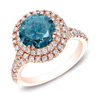 Auriya 14k Rose Gold 1 5/8ct TDW Blue Round Diamond Ring (H-I, SI1-SI2)