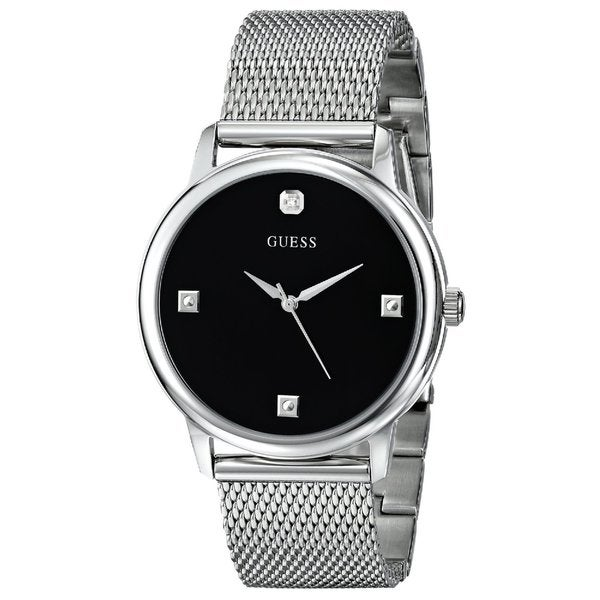 Guess Men's U0280G1 Slim Round Silvertone Diamond Accented Mesh Watch
