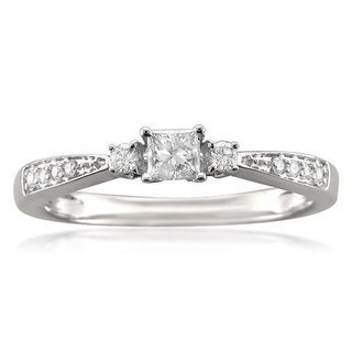 14k White Gold 1/4ct TDW Princess-cut Diamond Promise Ring (H-I, SI1-SI2)
