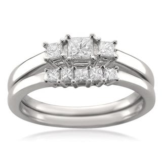 14k White Gold 1/2ct TDW Princess-cut Diamond Bridal Ring Set (H-I, I1)