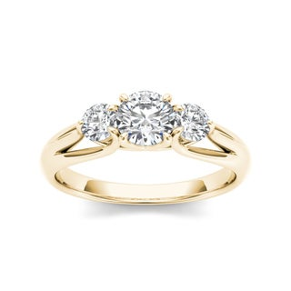 De Couer 14k Yellow Gold 1ct TDW 3-stone Diamond Ring (H-I, I1-I2) with Bonus Necklace