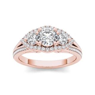 De Couer 14k Rose Gold 1 1/6ct TDW 3-stone Diamond Ring (H-I, I1-I2)