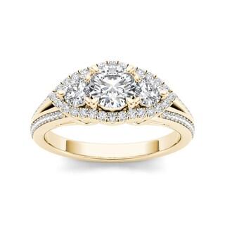 De Couer 14k Yellow Gold 1 1/6ct TDW 3-tone Diamond Ring (H-I, I1-I2)