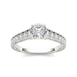 De Couer 14k White Gold 1 1/5ct TDW Diamond Vintage Engagement Ring (H-I, I2)